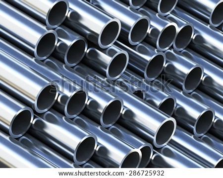 Steel tubes stack with reflection - stock photo