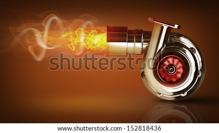 Steel turbocharger with fire. High resolution 3d render  - stock photo