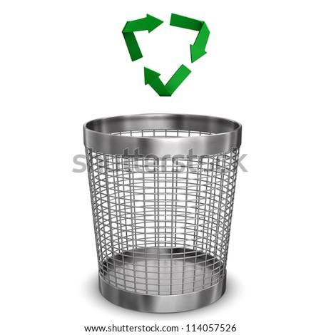 Steel wastebasket with a recycling symbol. White background. - stock photo