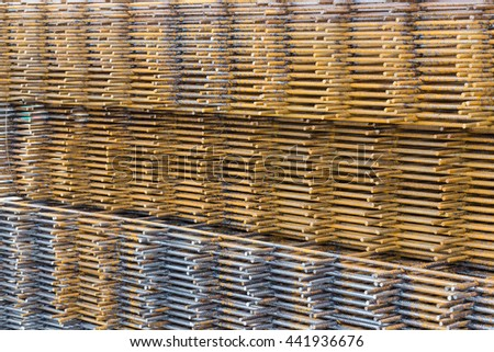 Steel welded wire mesh for concrete cement construct - stock photo