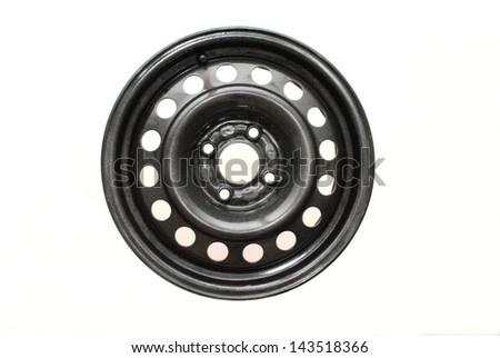 Steel wheel rim  on white background - stock photo
