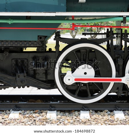 Steel wheels of a train of ancient represent the mechanical system.