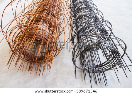 Steel Wire Mesh construction for flooring.Structural steel - stock photo
