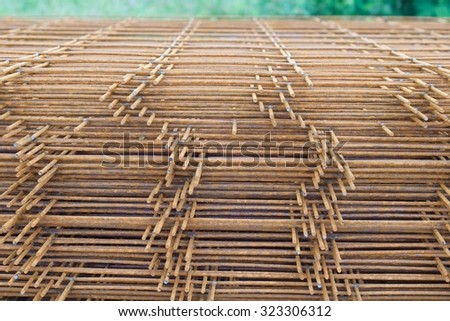 Steel wire mesh for construction. - stock photo