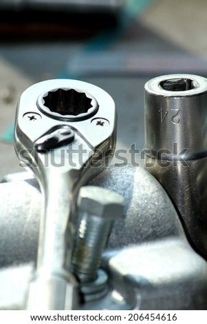 Steel wrench - stock photo
