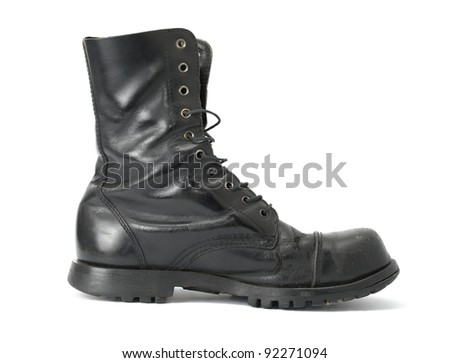 Steelcap leather boots isolated on white - stock photo