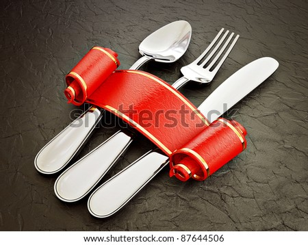 steell cutlery isolated on a black background - stock photo