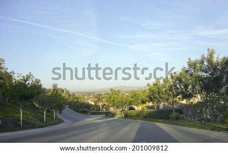 Steep and winding streets in city of Camarillo, Ventura county, California - stock photo