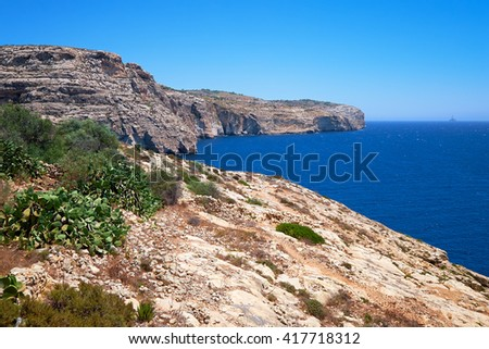 Steep cliff over Mediterranean sea on south part of Malta island near Blue Grotto with cactus Opuntia on foreground - stock photo