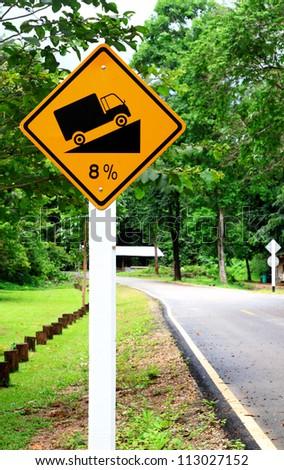 Steep grade hill  traffic sign - stock photo
