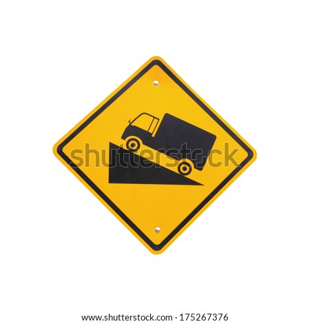 Steep grade hill traffic sign on white background  - stock photo