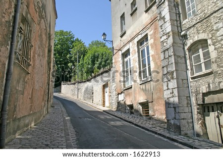 Steep Lane in French Town - stock photo