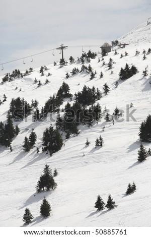 Steep powder ski terrain - stock photo