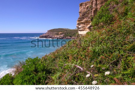 Steep slope on an ocean coast in the summer. Northern Spain, Cantabria, Atalantichesky ocean. Summer, the coast the blue ocean and the flat line of the horizon in the distance   - stock photo