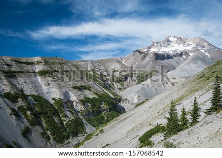 Steep slopes on Mt. Hood in the cascade range of Oregon - stock photo