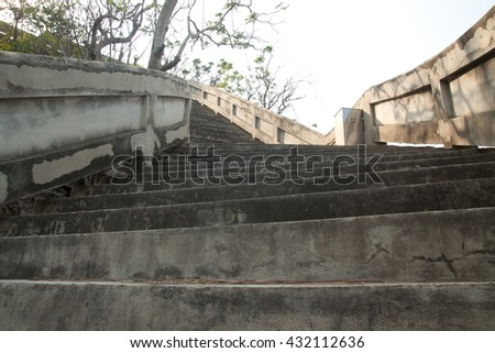 Steep up staircase isolate white over