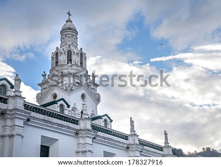 Steeple of the Quito Cathedral, Quito Ecuador - stock photo