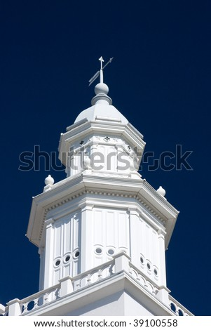 Steeple of the St. George Utah Temple. - stock photo