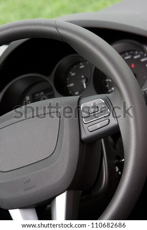 Steering wheel controls - stock photo