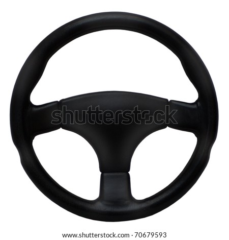 Steering wheel isolated on a white background - stock photo