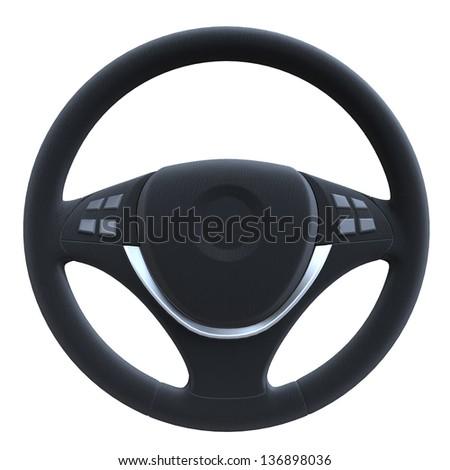 Steering Wheel Isolated on White Background - stock photo