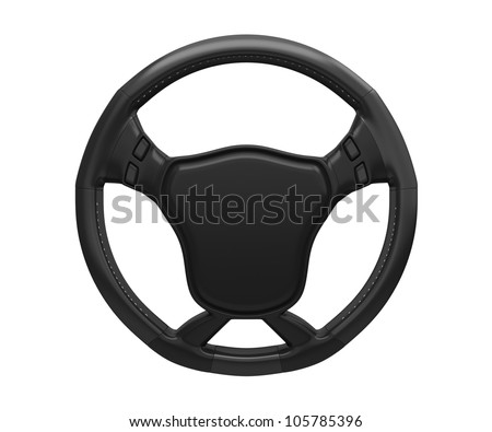 steering wheel isolated on white background. 3d rendered image