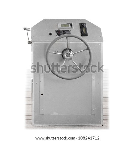 Steering wheel on a modern yacht instrument panel isolated on a white. - stock photo