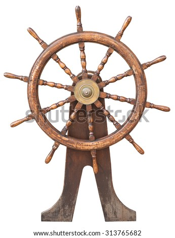 Steering wheel on isolated white background, close up view