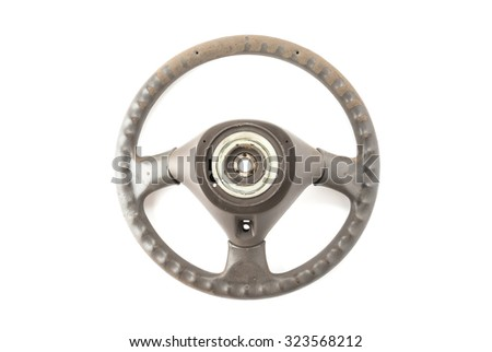 steering wheel on white background