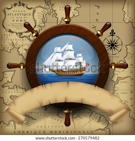 Steering wheel, sailing boat in the sea and parchment ribbon on old chart background.  Navigation travel template - stock photo