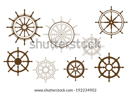 Steering wheels set for heraldry or marine logo design. Vector version also available in gallery - stock photo