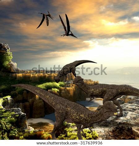 Stegoceras Dinosaurs - Stegoceras dinosaurs eat the vegetation along a rocky coast as Pteranodon reptiles fly overhead. - stock photo