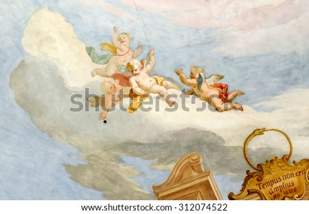 STEINGADEN, GERMANY- AUGUST 11, 2015: Fresco in Pilgrimage Church Wieskirche, a rococo church,designed in 1740s by Dominikus Zimmermann. A UNESCO World Heritage List in 1983. - stock photo
