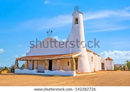 Stella Maris Church, Porto Cervo, Sardinia - stock photo