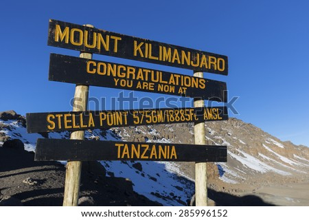 Stella Point on Mount Kilimanjaro in Tanzania, Africa. - stock photo
