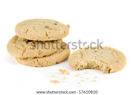 Stem ginger cookies on a white background - stock photo