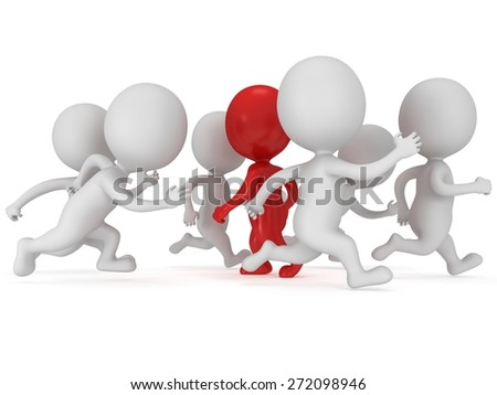 Stem the tide. Breast the current. Own way in business concept. ed businessman walk against crowd of running usual men. Not like everybody else. 3d render isolated on white.