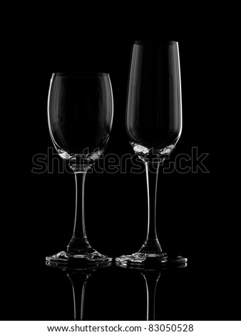 Stemmed glass on black background