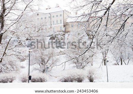 Stenbock House in the old town of Tallinn in winter