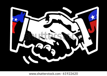 stencil drawing white on black painted wall of a handshake with democratic donkey and republican elephant color mascots - stock photo
