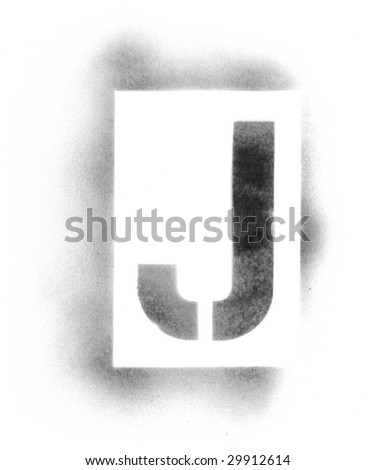 Stencil letters in spray paint - stock photo