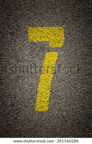Stencil numbers print on asphalt background - check my portfolio for other numbers