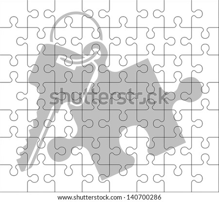 stencil of puzzle key. raster variant - stock photo