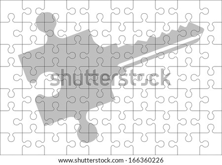 stencil of puzzle key. second variant. raster version - stock photo