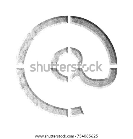 Stencil Style White Wooden Sign Email Stock Illustration 734085625