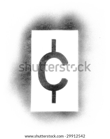 Stencil symbols in spray paint - cent - stock photo
