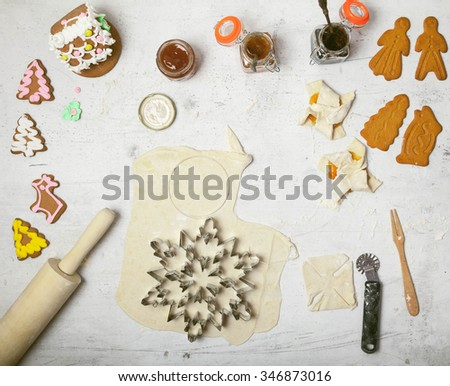 Step by step cooking Background. Forming Traditional Christmas cakes. Top view