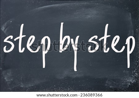 step by step text write on blackboard - stock photo
