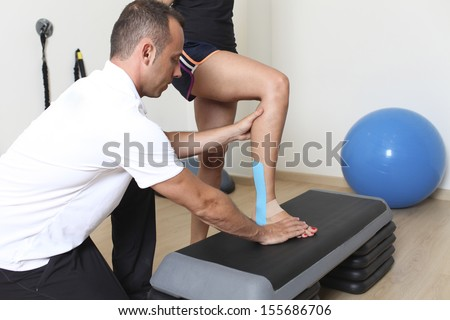 Step exercise with physical therapist