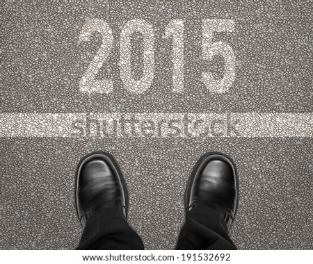 Step into 2015 new year concept - stock photo